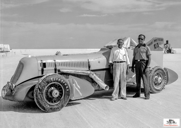 1936 Mormon Meteor II with Augie Duesenberg at left, Jenkins at right.  Shipler photo collection courtesy Marriott Library, U of Utah