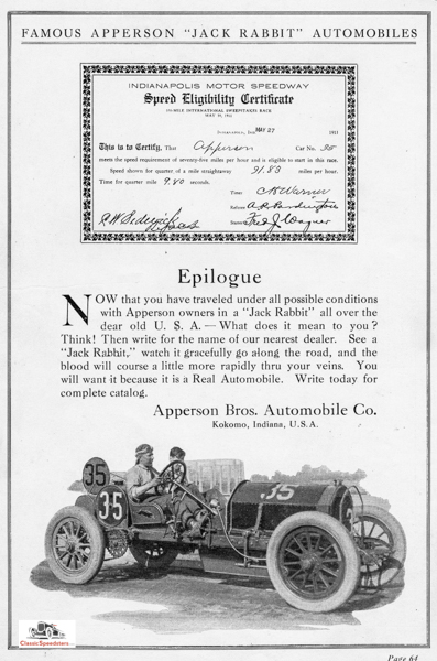 1911 Indianapolis post-race ad.  Ad courtesy Haynes Automobile Museum