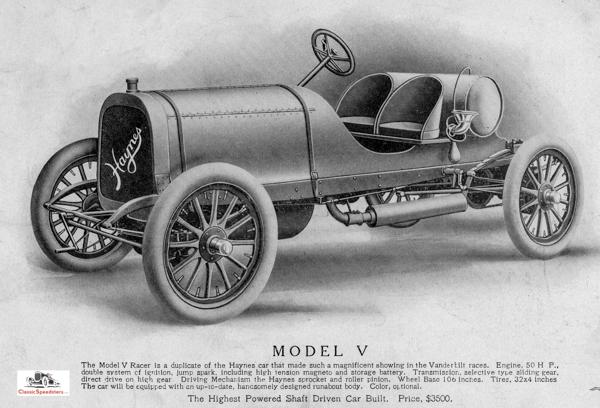 1907 Haynes Model V Speedster.  illustration courtesy Indiana State Historical Society