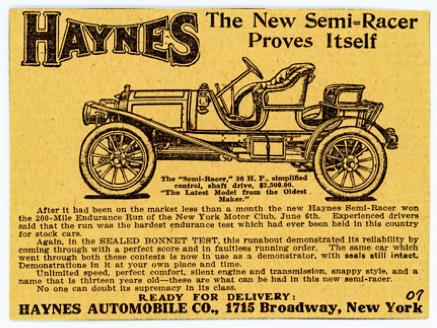 1907 Haynes Semi-Racer.  Ad courtesy AACA Library