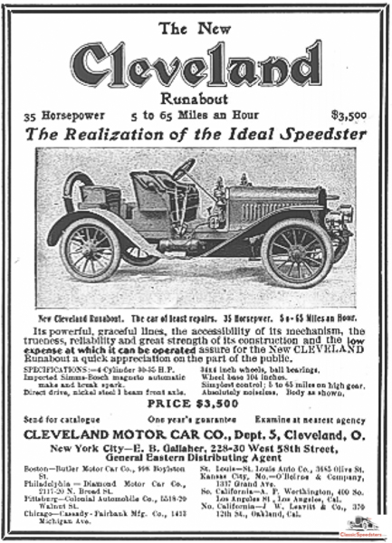 1906 Cleveland Speedster. Examples at this point had yet to differentiate from their more sedate siblings such as a doctor's runabout. This would change soon.  Ad courtesy AACA Library