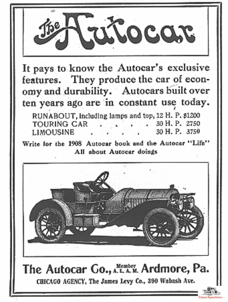 Introduced in 1907, The Autocar Runabout Speedster was such a deal when compared to the more outfitted Tourer or Limousine. And more fun!  Ad courtesy HCFI Archives