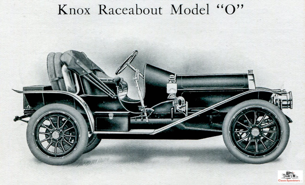 1909 Knox Raceabout. Hands-down a street-track speedster from Springfield, Massachusetts, this beast was a favorite of both Barney Oldfield and Joan Cuneo.  Catalog from personal collection