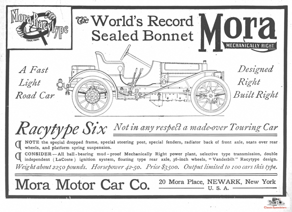 """Hailing from Newark, New York, The 1907 Mora Racytype Six asserted that it was """"Not in any respect a made-over Touring Car.""""  Ad courtesy HCFI Archives"""