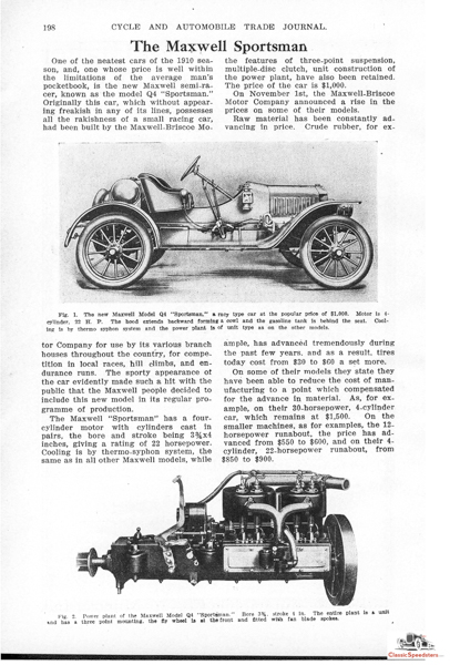 Typical news of the day in weekly automotive journals, this article discussed in some depth the 1909 Maxwell Sportsman.  Article courtesy HCFI Archives