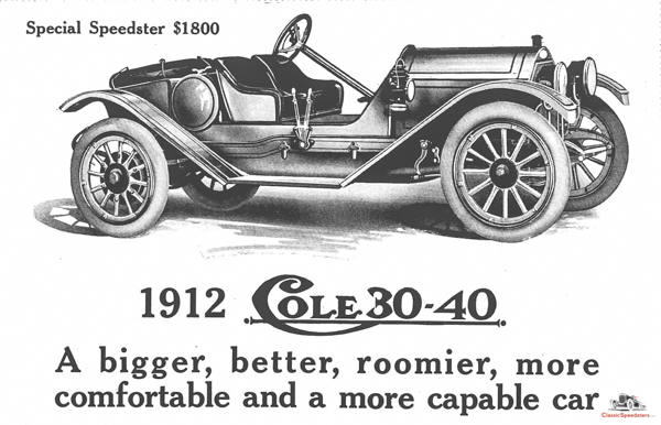 1912 Cole Special Speedster ad.  Illustration courtesy Horseless Carriage Foundation