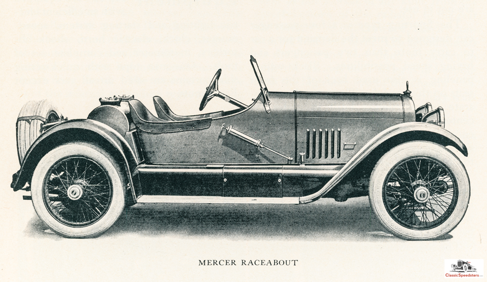 1919 Mercer Raceabout. Note that the body is now more enclosed as in the earlier Runabout body styles. However, no doors (yet).