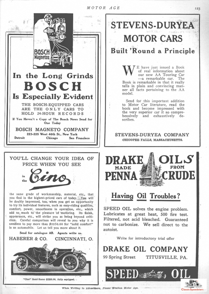 1911 Cino Raceabout as it appeared in Motor Age.  Ad courtesy HCFI.org