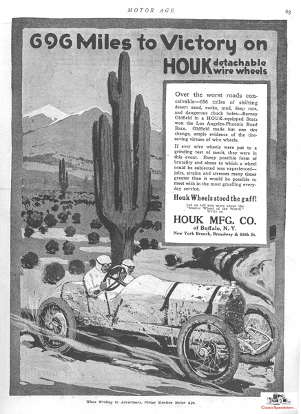 In 1914 Barney Oldfield won the Desert Classic using Houk Detachable wire wheels.  ad courtesy HCFI.org