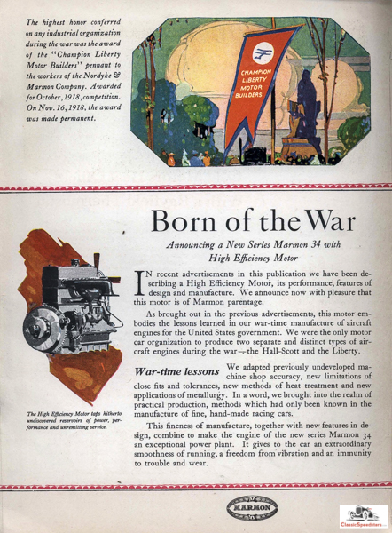1919 Marmon ad featuring its Liberty Engine Award. Marmon was famous for its engineering accuracy and machine fabrication tolerances.  ad courtesy HCFI.org