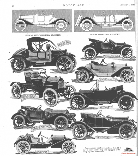 Runabouts featured at the 1912 Chicago Auto Show. Note the Hudson Speedster at the bottom, significant in its lack of doors. Yowsa!  article image courtesy HCFI.org