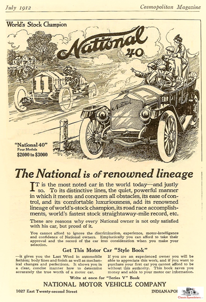 1912 National, on track and street!  ad courtesy HCFI.org