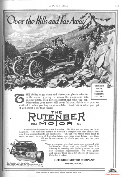 """1912 Rutenber engine ad. Rutenbers were used in several cars whose companies produced an """"assembled car"""" and required a turn-key crate motor. In this case we have a speedster!  ad courtesy HCFI.org"""