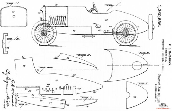 Initial patent of the Mercury body, granted Nov. 30, 1920.  image courtesy U.S. Patent Offc