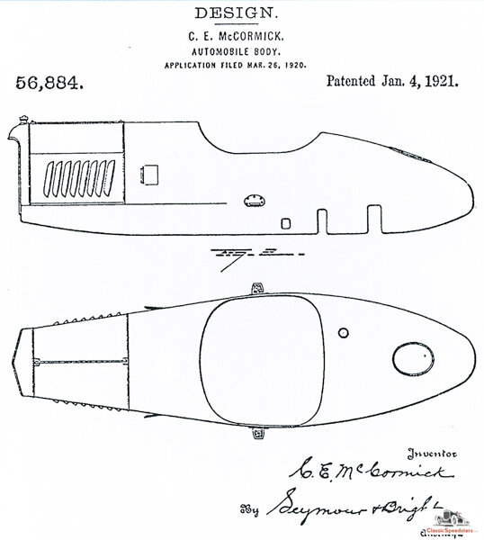 """This second patent image better shows the streamlined shape of the Mercury. (Compare this to the Morton & Brett patented body as illustrated in my """"Everyman Speedster"""" post from June 7, 2019)  U.S. Patent Offc."""