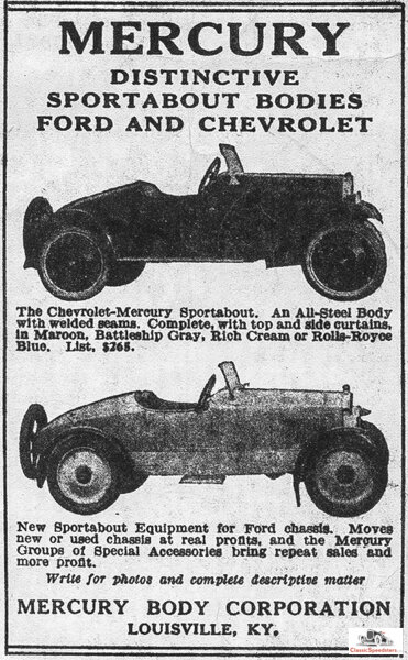 Magazine ad for the Mercury Sportabout from a July 1924 edition of Chilton's Automobile Directory.  image courtesy AACA Library