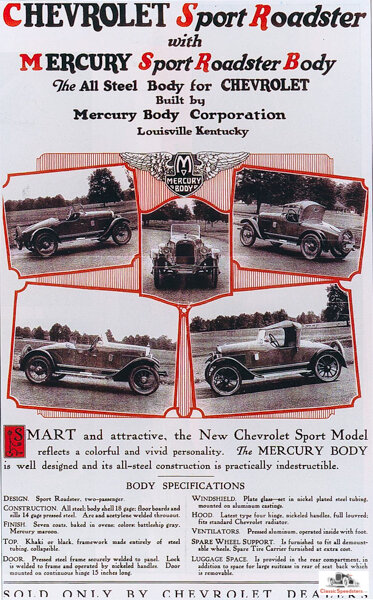 This flyer offered the Mercury body for the Chevrolet 490.  image courtesy Jarvis Erickson collection