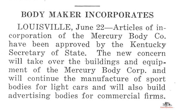 News item in the June 25, 1925 edition of  Automotive Industries , p. 1155.  image courtesy Horseless Carriage Foundation Library