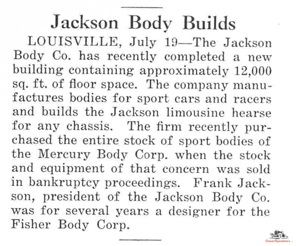 Mercury Body purchased at bankruptcy auction as reported in  Automotive Industries , July 22, 1926, p.150  image courtesy HCF Library