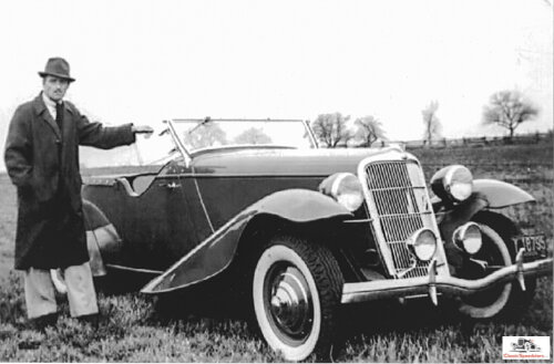 Gregorie with his 1935 prototype speedster phaeton, a gift from Edsel Ford for Gregorie's design partnership.  photo courtesy Henry Dominguez collection