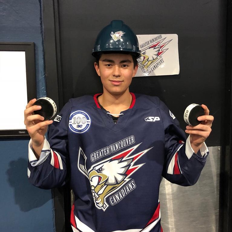 Richmond's Sammy May is off to an impressive start in his first-year with the B.C. Major Midget Canadians, scoring four goals in three games including a hat trick in Kelowna against the Okanagan Rockets.