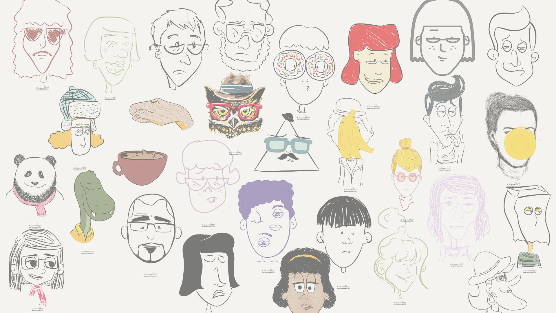 Snippet of the 'Drawing a face everyday project' - a collection of 201 different faces.