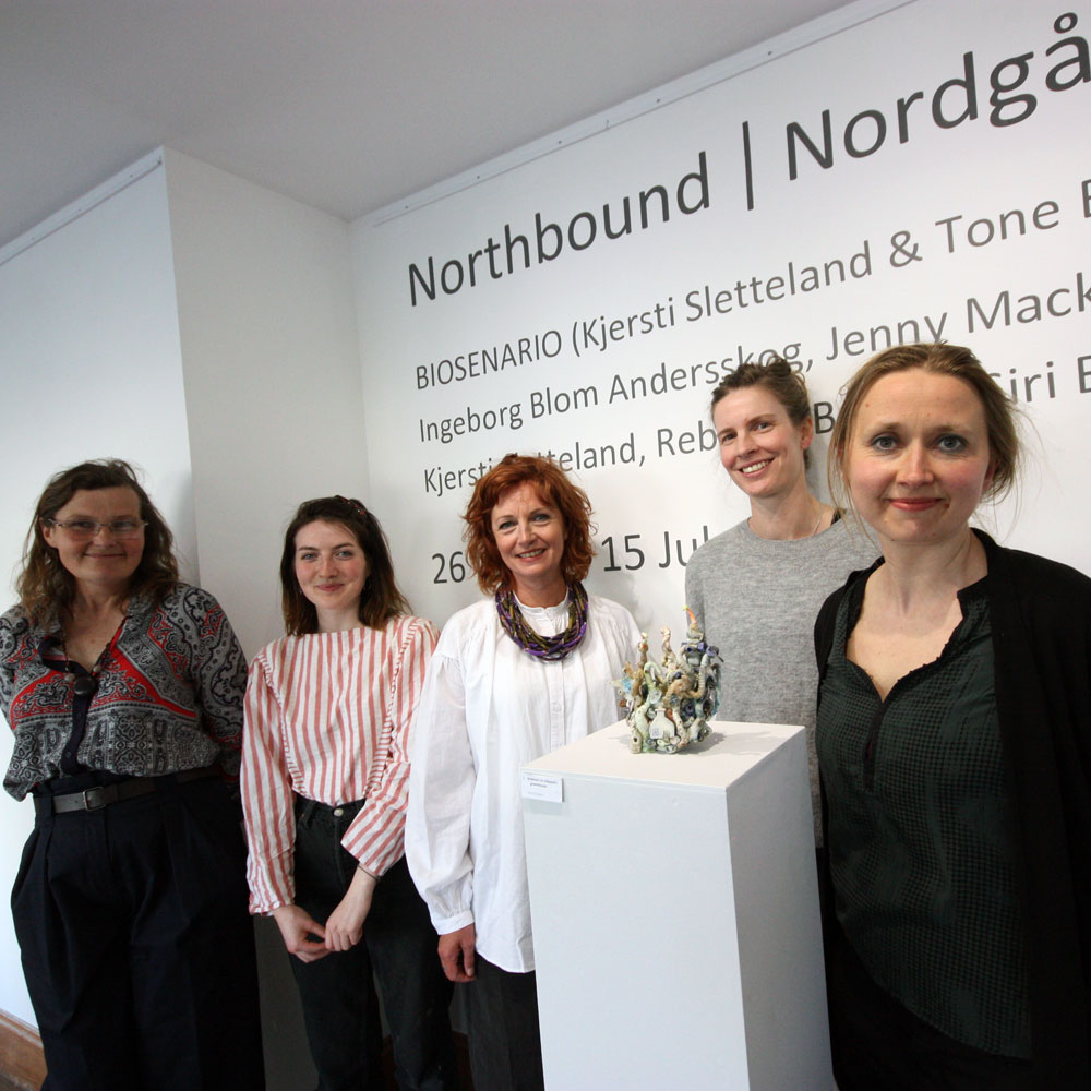 The artists at the opening of Northbound | Nordgående in Ullapool.  From Left to Right: Jenny Mackenzie Ross, Rebecca Brown, Tone Boska, Ingeborg Blom Andersskog, and Kjersti Sletteland [Siri Brekke did not attend the opening of the exhibition in Ullapool] (Photo: Ian McKay)