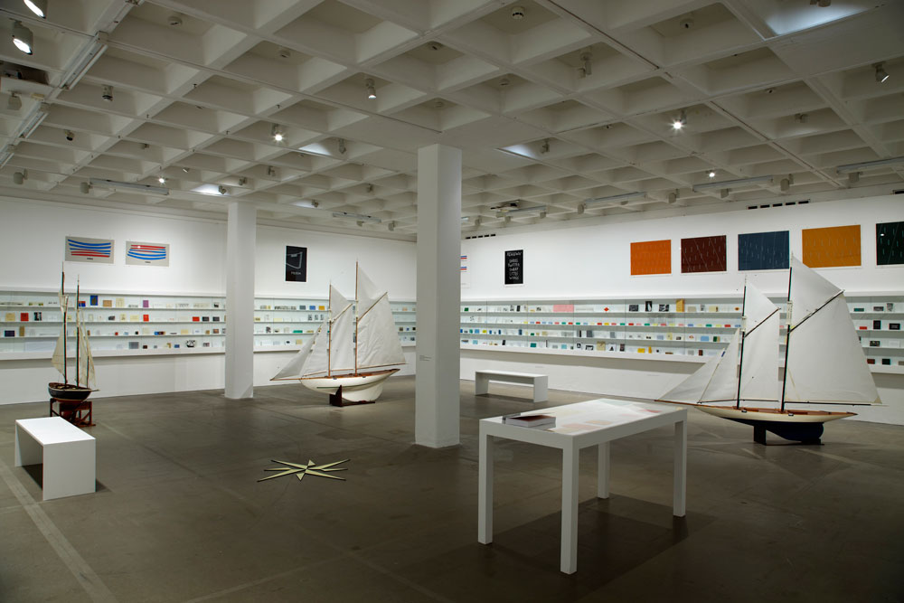 Ian Hamilton Finlay , Installation view of the exhibition presenting an extensive collection of Ian Hamilton Finlay's book works and printed matter at the Arnolfini, Bristol, in 2013. (Photo: Stuart Whipps, courtesy of Arnolfini).