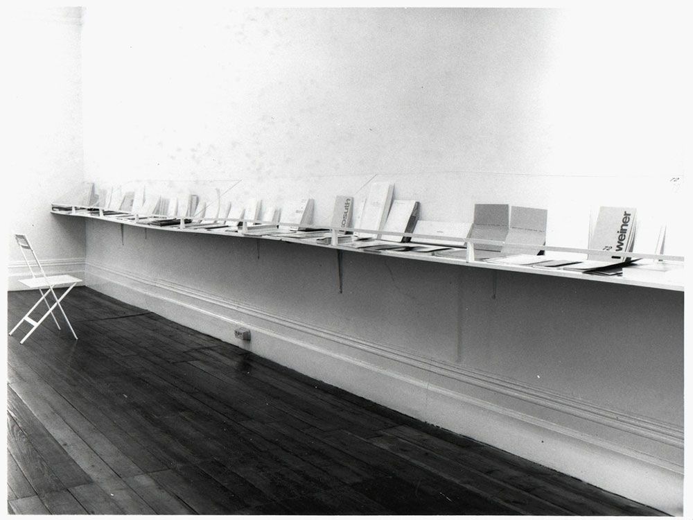 The Book as Artwork . Installation photo from the Nigel Greenwood Inc Ltd., exhibition of 1976, (Image exhibited at 'Nigel Greenwood Inc Ltd: Running a Picture Gallery' – Chelsea Space, 2016).