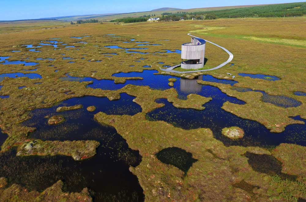 Forsinard lookout tower  at the peatland restoration project in Caithness.