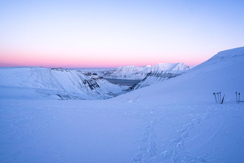View from Larsbreen  towards Longyearbyen and beyond, February 16, 2018, 11:30am.