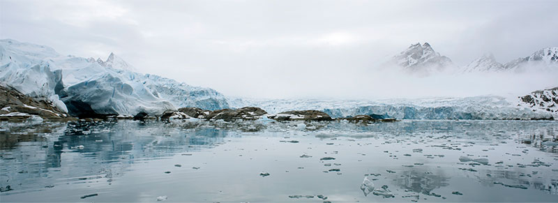 "What is Majestic?  (Fridtjofbreen-Fridtjof Glacier, 77°46'6""N, 014°34'5""E, June 22, 2017), Chromogenic photograph, 72x26"", 2017."
