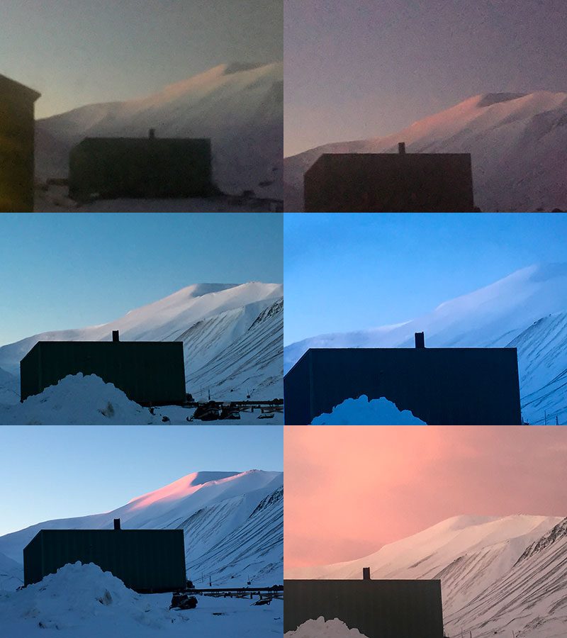 Views beyond the Longyear Glacier  up to Platåbreen during polar night in Longyearbyen, from the residence entrance in Nybyen.