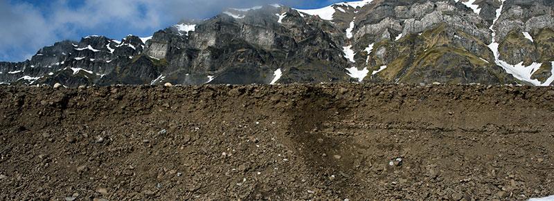 """I Caused a Landslide    (Vårsolbukta-Little Auk Bight. 77°45'3""""N, 014°20'2""""E, June 21, 2017).   Chromogenic photograph, 72x26"""", 2017."""