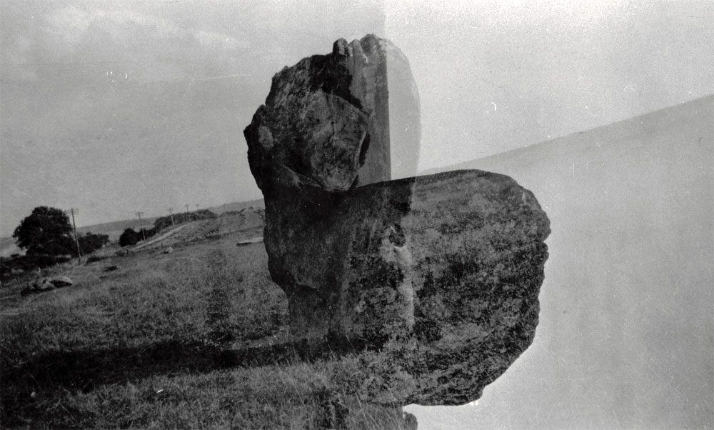 Paul Nash ,  Black and white negative, Avebury stone (double exposure)  (1933) ©  Tate  {CC-BY-NC-ND 3.0 (Unported)]