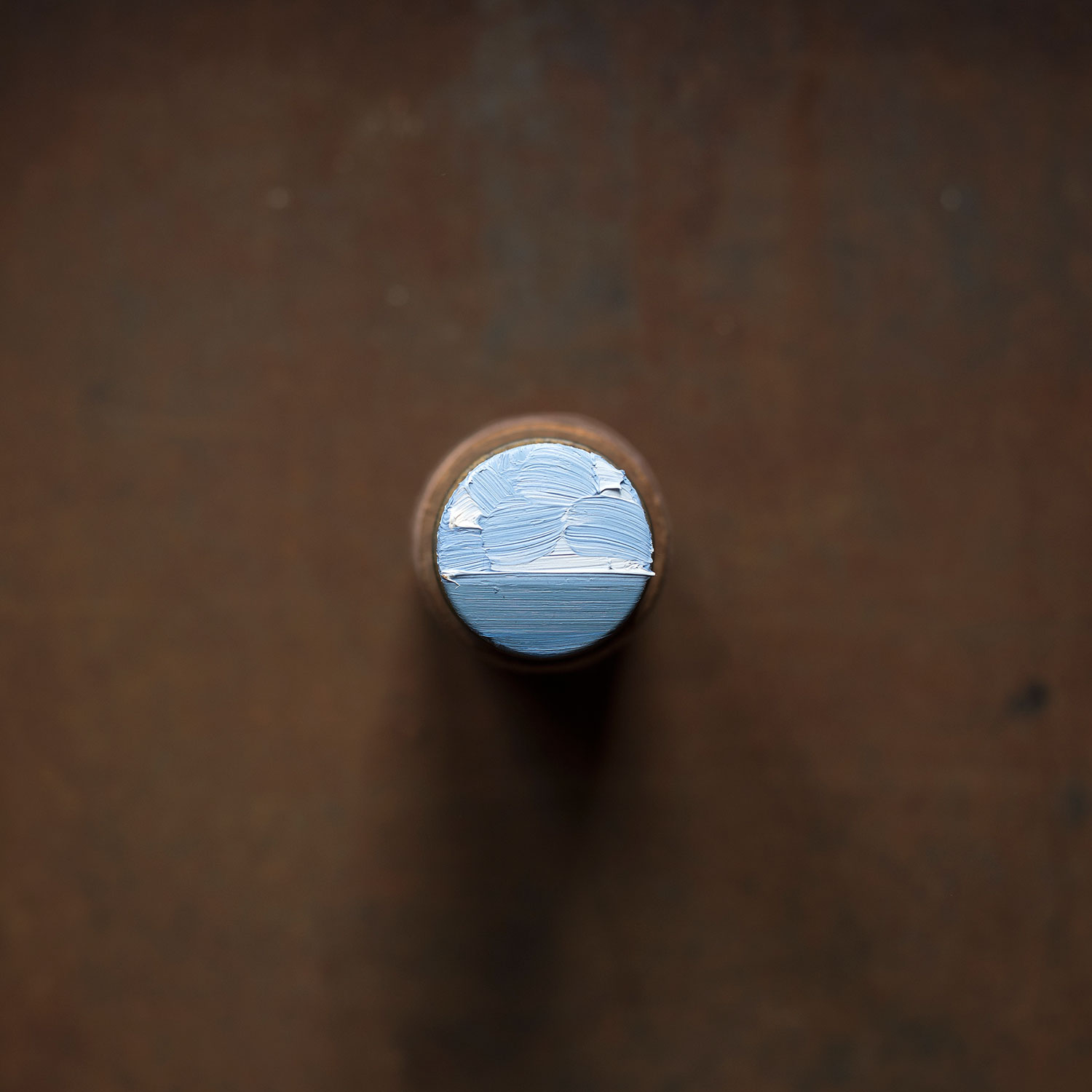 David Cass ,  Arctic  (2017) oil on stacked cylindrical pill tin and thread spool, H:10cm W:4cm