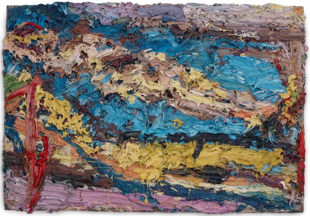 Frank Auerbach ,  E.O.W. on her Blue Eiderdown V , 1963, oil on board 57.5 by 83 cm.