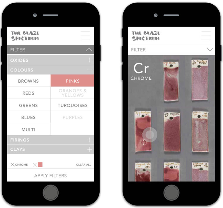 The Glaze Spectrum  website mockups for mobile devices, here showing the search filter options to help ceramicists find glaze recipes and data on the open source application.