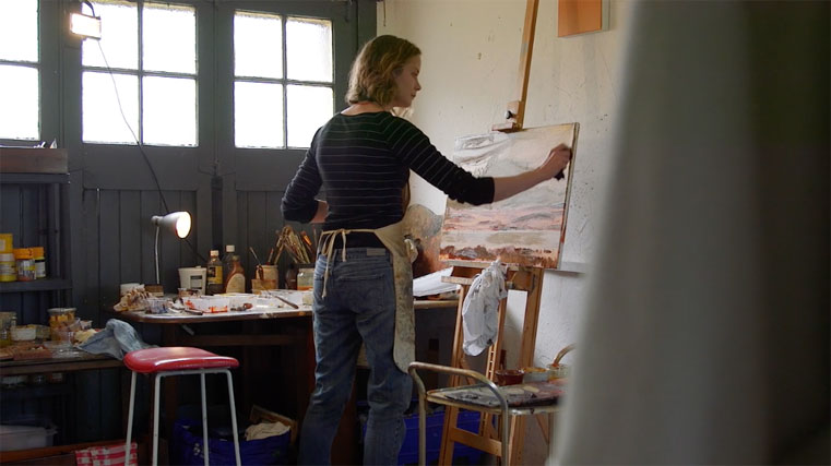 Monique Sliedrecht , pictured working in her studio from a video produced by Far North Film, 2017.