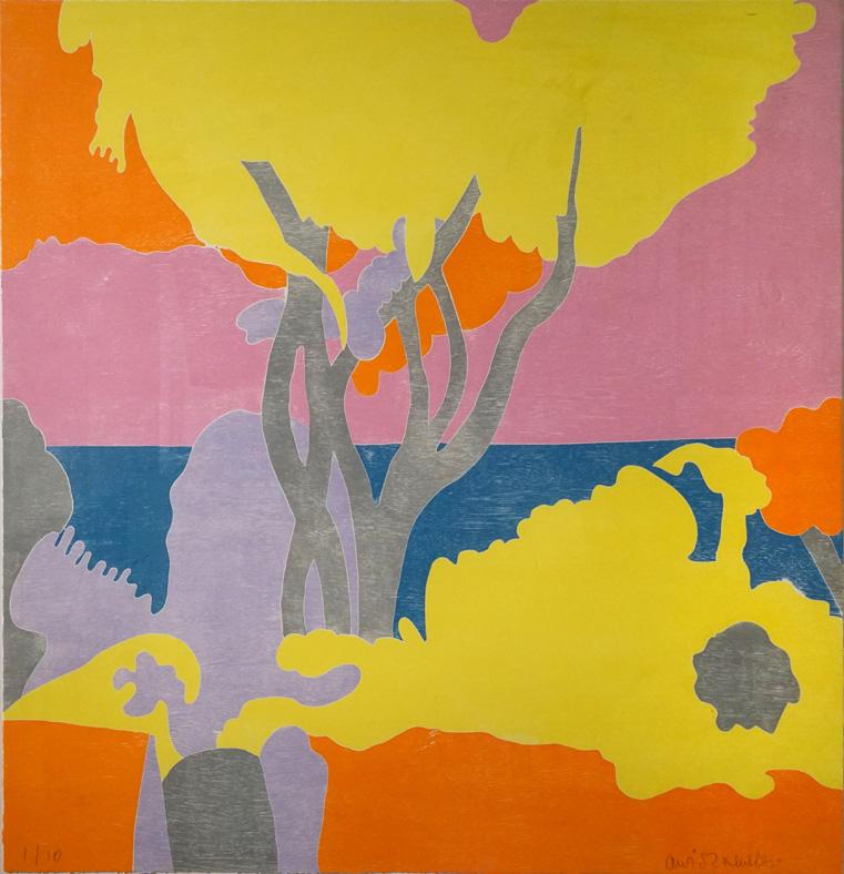 Adrian Wiszniewski   Crail - Scotland l . Six colour woodblock. (Image courtesy An Talla Solais Gallery)