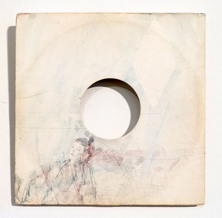 Casper White  – Clockwise from left:  Next Day 7 (Hannah), Berlin , Silverpoint, Pencil And Watercolour On Found Record Sleeve, 31 x 31 cm;   Next Day  , 2017, Watercolour On Found Book Sleeve, 26 x 26 cm,   Next Day 3 (Emma), Mallorca , Pencil And Watercolour On Found Neon Paper, 21.5 x 15 cm. (Photos: courtesy Arusha Gallery)