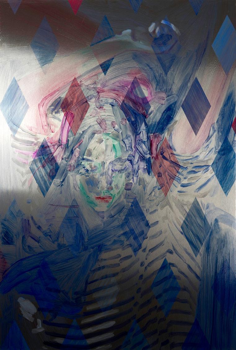 Casper White ,  I'll Be Waiting (Emma) , Mallorca, Oil On Stainless Steel, 92.5 x 62.5 cm. (Photo: © John Sinclair, courtesy Arusha Gallery)