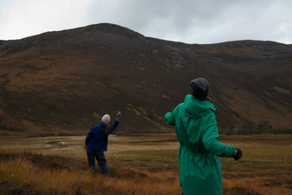 Simone Kenyon ,  Green and Blue 2 , Into The Mountain rehearsals, 2018. Courtesy of the artist and Scottish Sculpture Workshop. Photo by Lucy Cash.