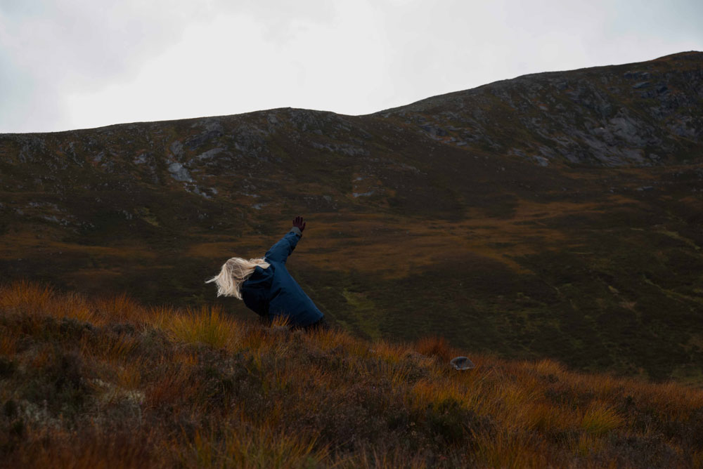 Simone Kenyon ,  Edge 2 , Into The Mountain rehearsals, 2018. Courtesy of the artist and Scottish Sculpture Workshop. Photo by Lucy Cash.