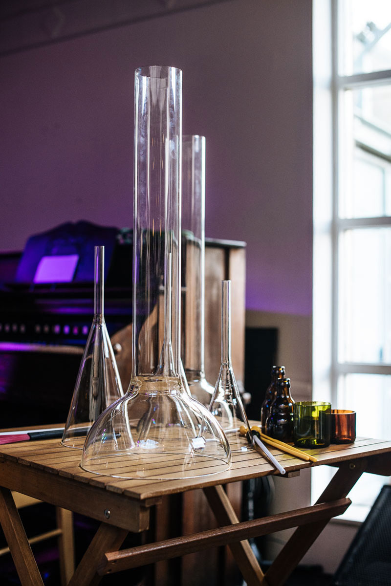 Sonic Bothy's Glass Instruments and Harmonium. Artist Carrie Fertig has produced glass instruments for the ensemble. (Photo: Brian Hartley).