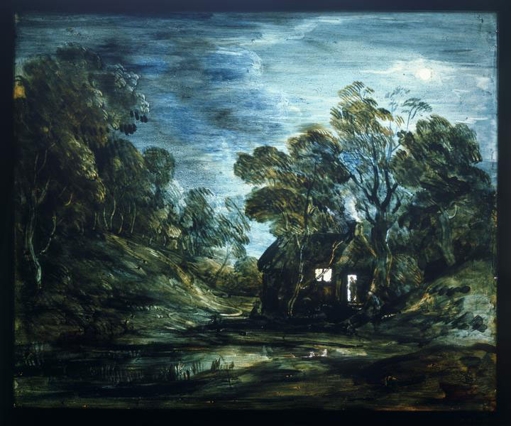 Thomas Gainsborough ,  Cottage in Moonlight , Oil on Glass, 28 x 33.6 cm. (courtesy the Victoria & Albert Museum).