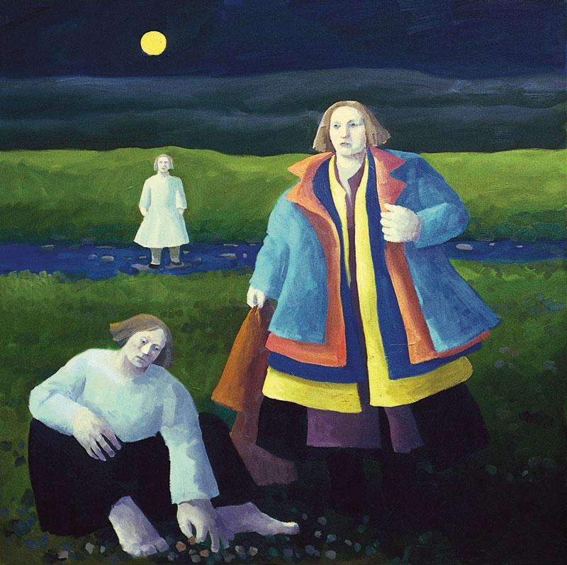 Karólína Lárusdóttir , 'Shedding Old Coats' 102 x 102cm, oil on canvas (Courtesy The Castle Gallery)