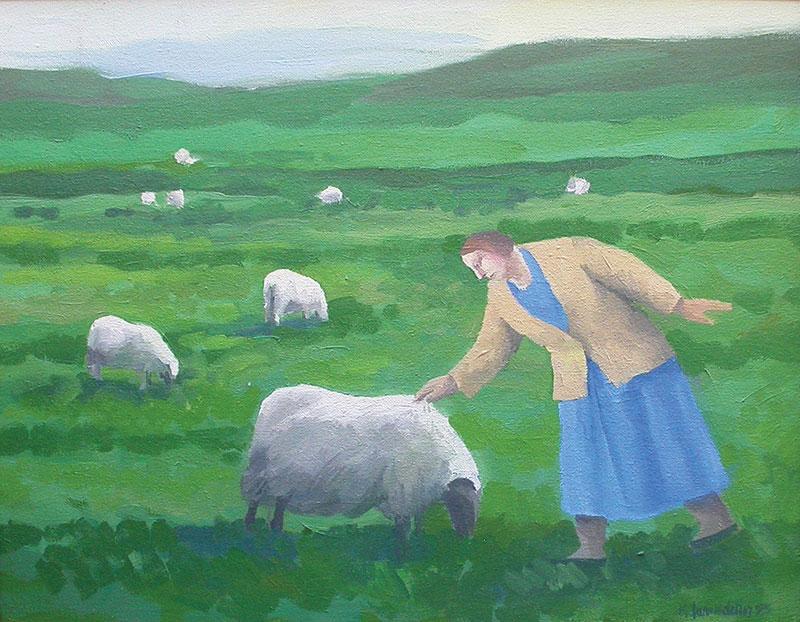 Karólína Lárusdóttir , 'Woman Pats the Sheep', 35 x 45cm, oil on canvas (Courtesy The Castle Gallery)
