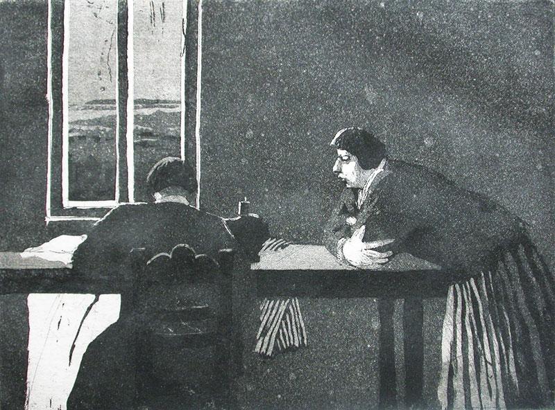Karólína Lárusdóttir , 'Saumakonan' (Seamstress), 15 x 20cm, etching and aquatint (Courtesy The Castle Gallery)