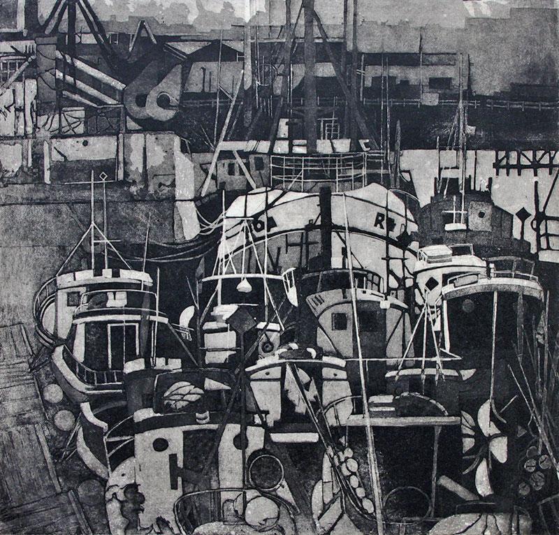 Karólína Lárusdóttir , 'Reykjavík Harbour', 48 x 50cm, etching and aquatint (Courtesy The Castle Gallery)